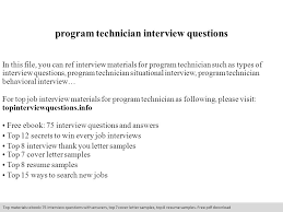 Program Technician Interview Questions Ppt Video Online Download