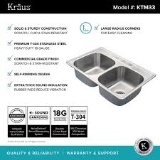 kraus 33 inch topmount 50 50 double bowl 18 gauge stainless steel kitchen sink with