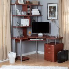 stunning natural brown wooden diy corner desk. Home Office Corner Desk With Shelves Racks And Cabinet Near Cream Curtains Stunning Natural Brown Wooden Diy E