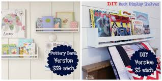 diy book display wall shelves pottery barn knockoff at the happy housie