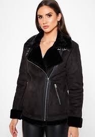 wallis black faux fur collar biker jacket 058312001 for women in saudi wa854at58tzx