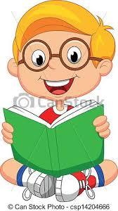 young boy cartoon reading book csp14204666