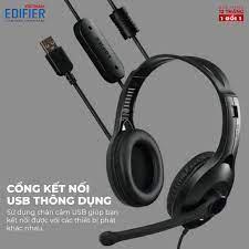 Tai nghe chụp tai có mic EDIFIER USB K800 Chống ồn Chân cắm USB - Hàng phân  phối chính hãng Bảo hành 12 tháng 1 đổi 1 - Tai nghe có dây