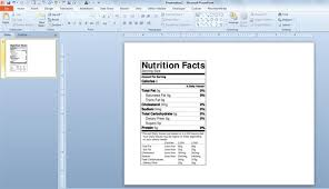 nutrition facts powerpoint template