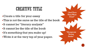 students will be able to address a prompt in essay format while create a title for your essay 61607 this is not the same as the title