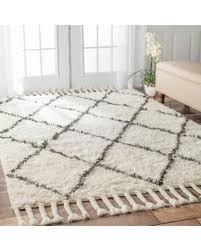 white wool shag rug. Plain Rug Oliver U0026 James Zoe Handknotted Trellis Wool Shag Rug  8u0027 X 10 And White O