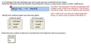 balanced form solved in a hydrogen fuel cell hydrogen gas and oxygen g