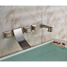 wall mounted brushed nickel bathtub shower faucet mixer tap with hand held shower zoom