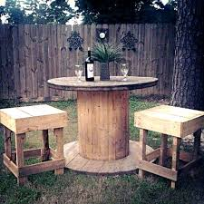 diy outside table and chairs. wooden cable spool table chairs repurposed diy backyard creative ideas outside and
