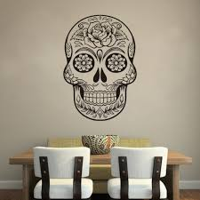 home office mexico. Sugar Skull Mexico Floral Swirl Office Wall Art Vinyl Sticker With Regard To Stickers Home
