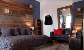 Bold Bedroom With Wood Panel