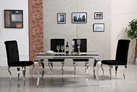 chrome metal dining table with black gl top and 4 upholstered black faux velvet chairs