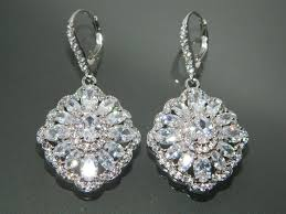 bridal cubic zirconia earrings crystal chandelier earrings large cz wedding earrings crystal sparkly halo dangle earrings prom jewelry 35 00 usd