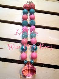 Turquoise and Bright Pink Chunky Bead Necklace with Large Diamond Drop  Pendant - Little Girls, Toddler, … | Little girl jewelry, Chunky bead  necklaces, Chunky beads