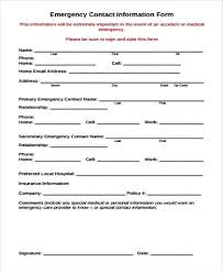 Emergency Contact Information Sheet Template