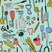 cooking utensils wallpaper. Delighful Cooking Kitchen Utensils On Cooking Utensils Wallpaper Spoonflower