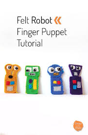 diy felt robot finger puppets includes a free printable pattern createinthechaos com