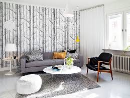 charming grey tree motif wallpaper decorating minimalist living room ideas highlighting white cone shade pendant lighting charming shag rugs
