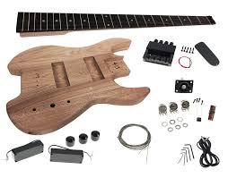 solo sb style diy headless bass guitar kit maple neck ash