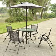 6 pcs Patio Folding Furniture Set with Umbrella Outdoor Furniture