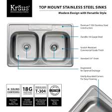 kraus ktm33 stainless steel 33 1 8 drop in 50 50 double bowl 18 gauge stainless steel kitchen sink faucetdirect com