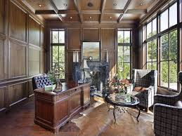 office paneling. solid wood paneling creates a stark contrast to delicate window panes office home