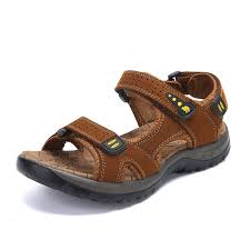 2 of 6 mens fashion big size leather sandals open toe adjustable fisherman beach shoes