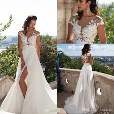 Simple Elegant Discount Simple Elegant Chiffon Bohemian Wedding Dresses 2019 Sheer