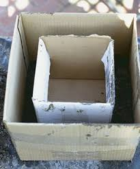 Hyperturfa : or Cement Planters : DIY : How to :: Make the form for the  walls of a rectangular planter by centering a smaller box inside a larger  one