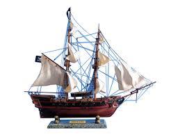 wooden caribbean pirate ship model 26 white sails