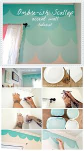diy scallop accent wall for mermaid bedroom