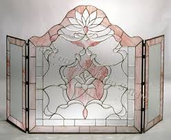 screens modern style leaded glass fireplace stained glass fireplace