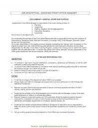 office manager sample job description newest front office assistant resume front office manager job