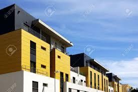 Facade Of A Modern Apartment Condominium In A Sunny Day Stock - Modern apartment building facade
