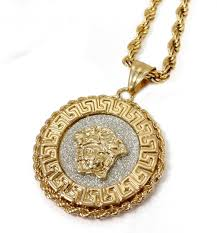 18k gold rope chain k gold plated medusa medallion pendant stainless steel necklace w rope