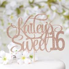 Personalized Sweet 16 Cake Topper Style 1 Sugar Crush Co