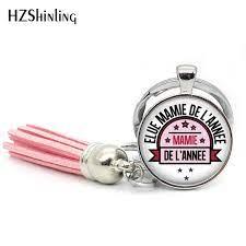 TAK 113 New Fashion Elue Mamie del'annee Tassel Key Chain Handcraft Super Mamie  Glass Cabochon Keyring Gifts for MAMA| | - AliExpress