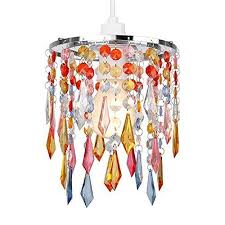 minisun acrylic jewel 2 tier ceiling pendant light shade crystal chandelier lamp multi