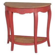 ashbury stradivarius natural oak veneer and antique red half moon console table