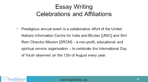 conscious living a heartfulness initiative that has programs  essay writing celebrations and affiliations