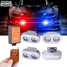 Personal Emergency Strobe Lights 4 In 1 Auto Led Car Emergency Strobe Lights Drl Wireless Remote Control Kit Car Accessories 12v Flashing Warning Police Flasher