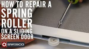 Decorating fixing screen door images : How to repair a spring roller on a sliding screen door - YouTube