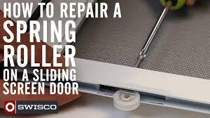 How To Repair A Spring Roller On A Sliding Screen Door Youtube Patio Slider Screen Door Parts