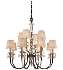 bella cristallo 12 light crystal chandelier in french bronze with gold highlights with eidolon crystal and