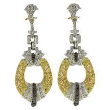 black and white diamond sapphire white and yellow gold chandelier earrings for