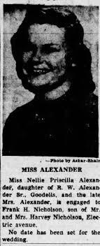 Nellie Priscilla Alexander Wed Announcement April 29, 1954 - Newspapers.com