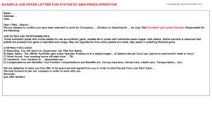 Synthetic Gem Press Operator Job Offer Letter