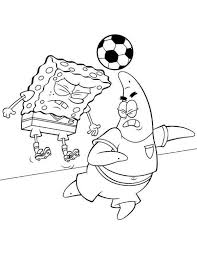 Spongebob Squarepants And Patrick Playing Football Coloring Page