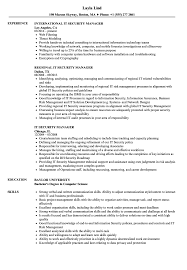 Sample Security Manager Resume IT Security Manager Resume Samples Velvet Jobs 12