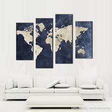 4 panel blue map canvas painting world map with mazarine background picture print on canvas wall art for home modern decoration map paintings canvas